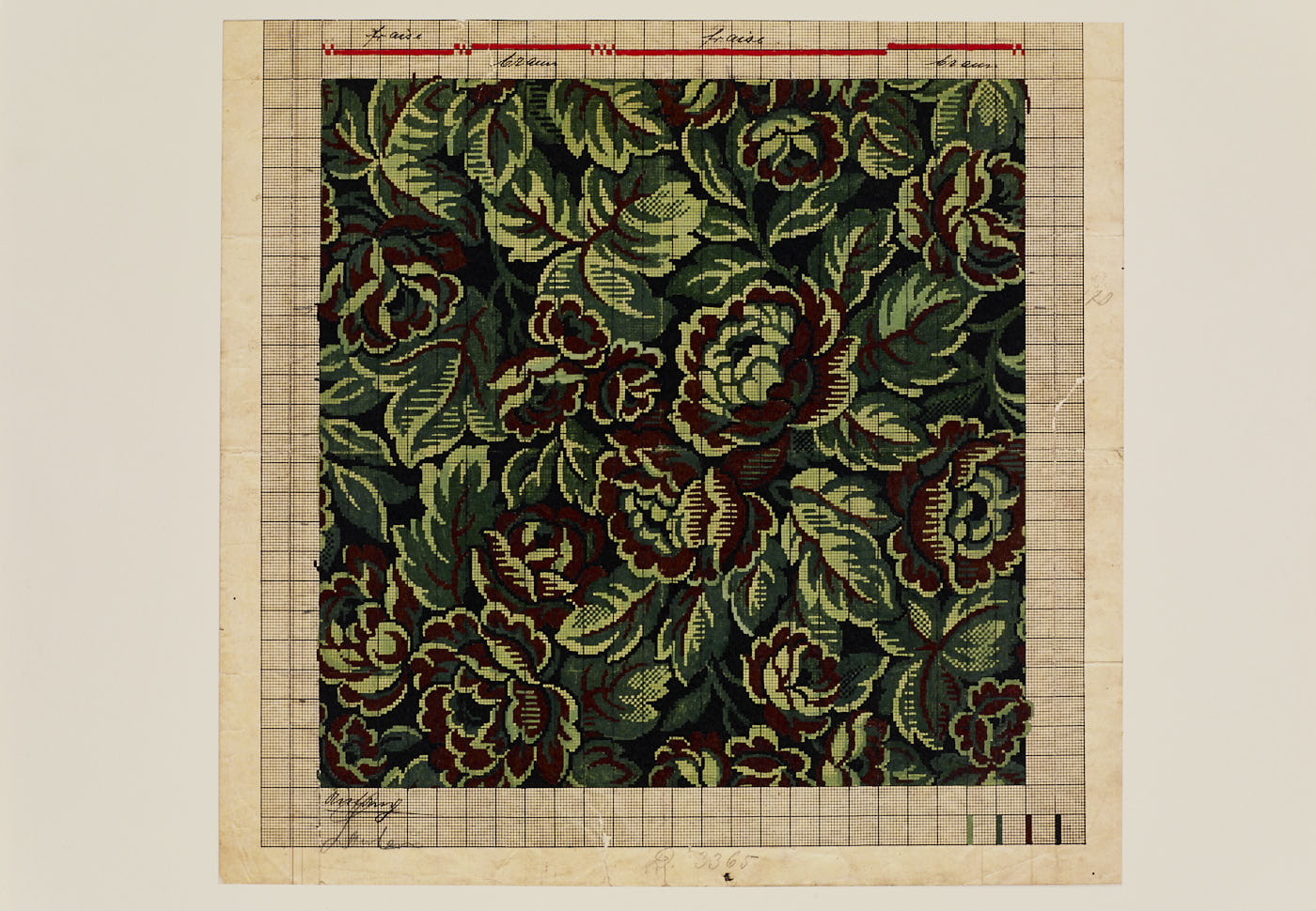 WA027 Green Tapestry Floral - est 1924-36 East Germany